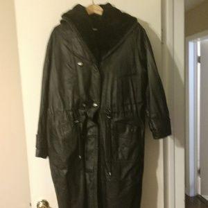 Vintage Leather Trench Coat Medium